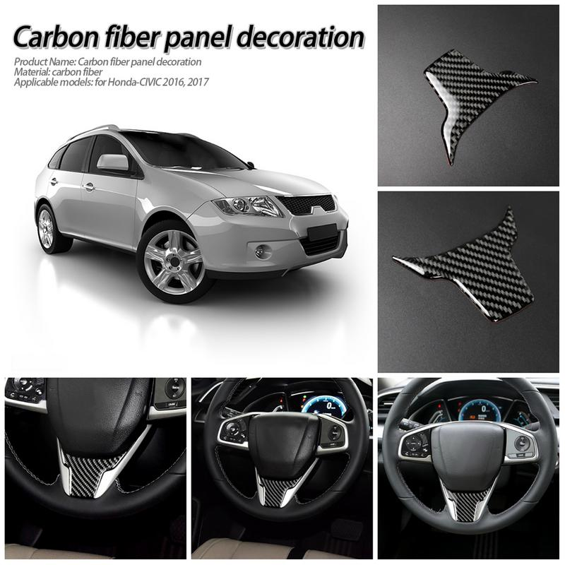 Steering Wheel Sticker For Honda Civic Carbon Fiber Decorative Stickers Car Modified Steering Wheel Decal