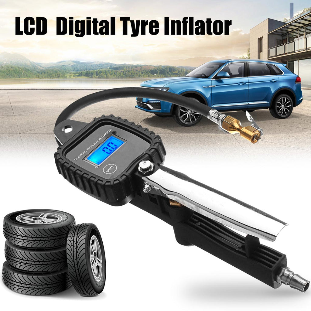 Tyre Inflator LCD Digital Metal Air Pressure Tire Gauge Meter With Hose for Auto Car Motorcycle Vehicle Tester Monitoring System