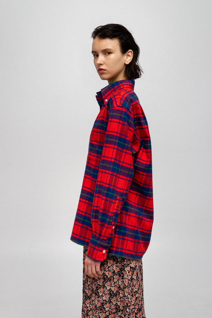 Jerk Orange Red, Blue & Green Flannel Plaid Shirt
