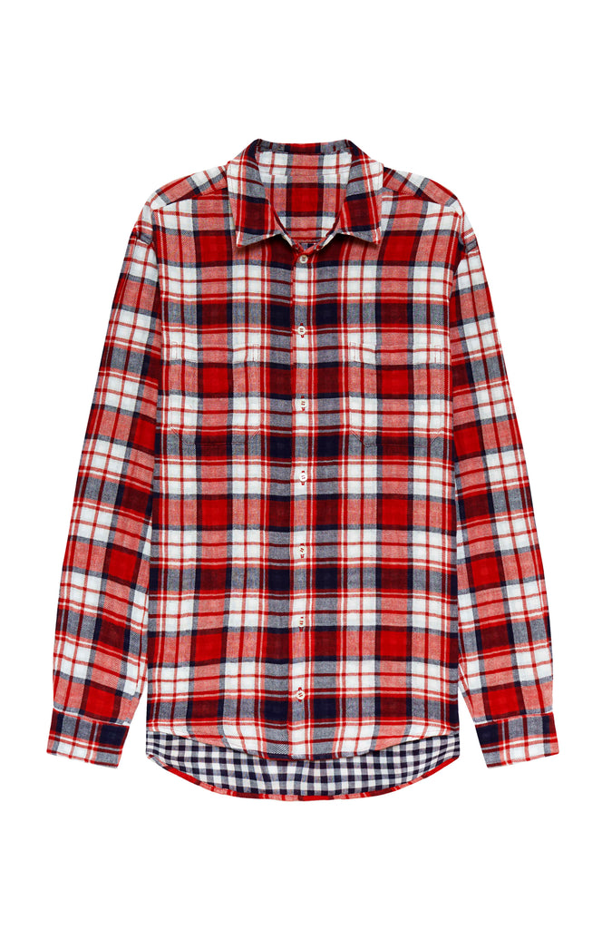 Dapper White & Red Flannel Plaid Shirt