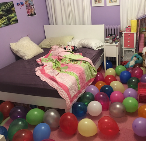 Waking up to a floor full on balloons on your birthday
