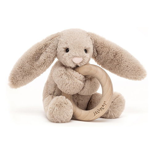 Bashful Beige Bunny Wooden Ring Rattle