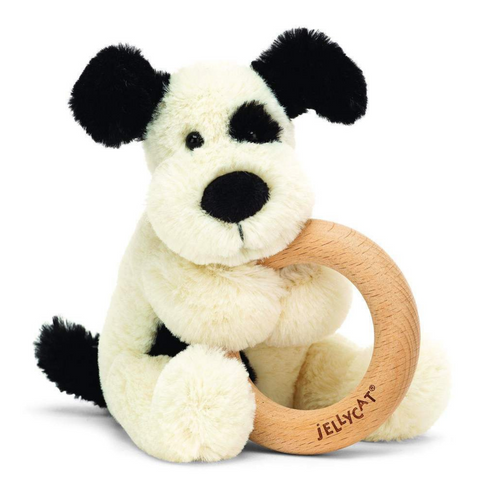 Bashful Black & Cream Puppy Wooden Ring Rattle