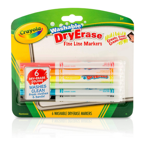 Washable Dry Erase Markers Fine Line 6 Count