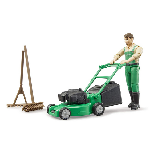 Gardener with Lawn Mower and Accessories