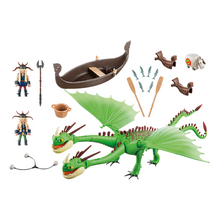 Load image into Gallery viewer, Playmobil Ruffnut and Tuffnut with Barf and Belch