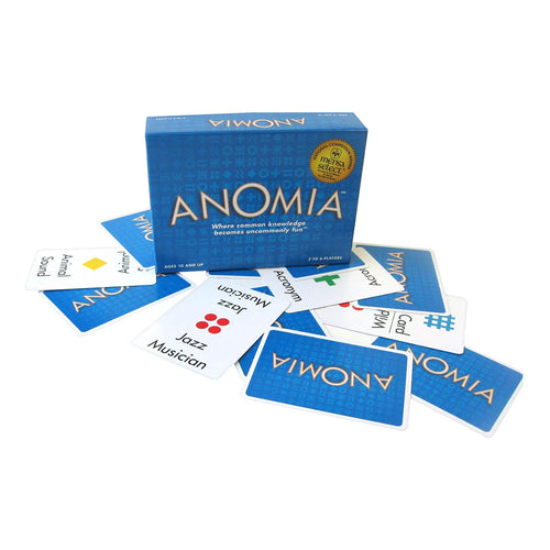 Anomia game box and cards