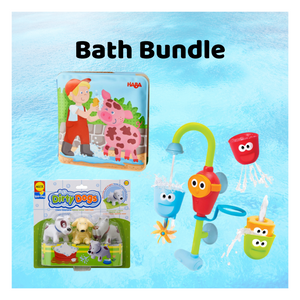 Bath bundle with fill 'n' flow spout, bath book, dog bath toys