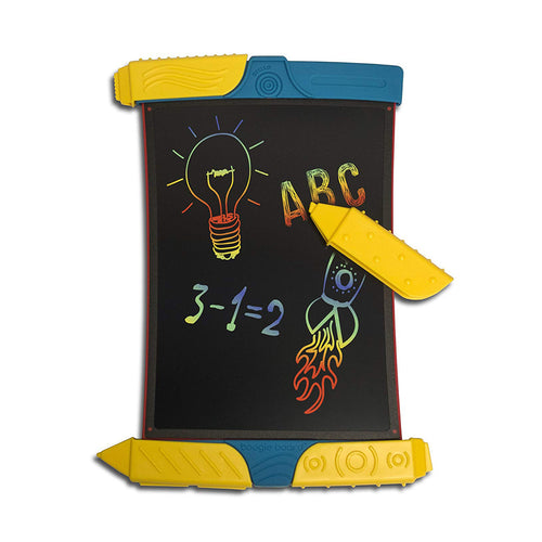 Boogie Board Scribble and Play electronic tablet with wide yellow stylus and rainbow colors