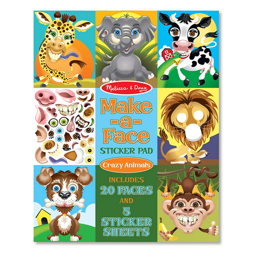 Make-A-Face Sticker Pad Crazy Animals