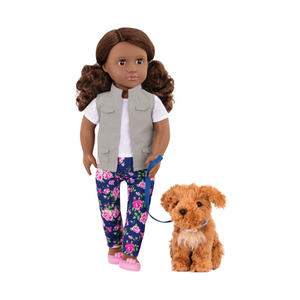 "18"" doll Malia with pet dog"