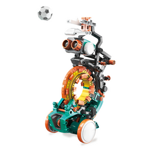 Mech 5 robot kicking soccer ball