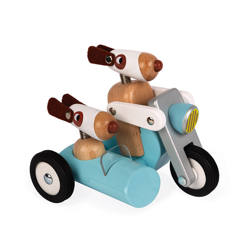 Wooden Sidecar Motorcycle with Dog