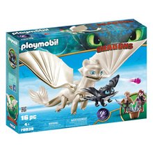 Load image into Gallery viewer, Playmobil Light Fury with Baby Dragon & Children