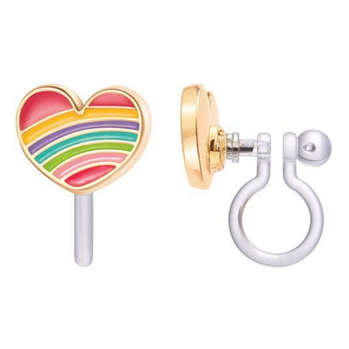 Rainbow Heart Clip-On Earrings