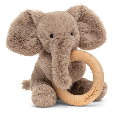 Smudge Elephant Wooden Ring Rattle