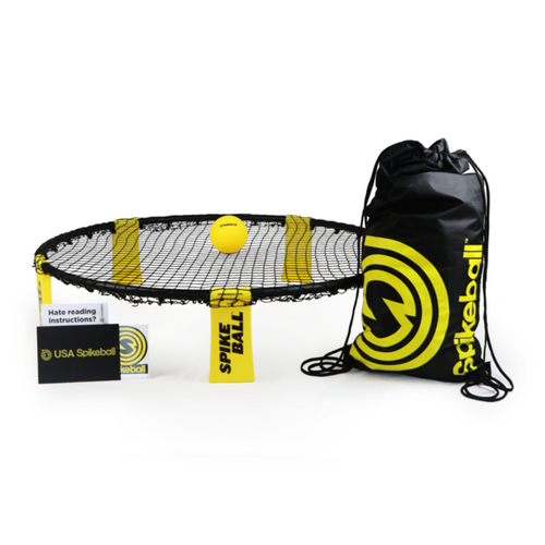 Spikeball pieces, including net, ball and bag