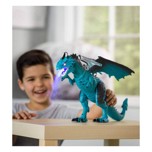 Child playing with steam-breathing dragon