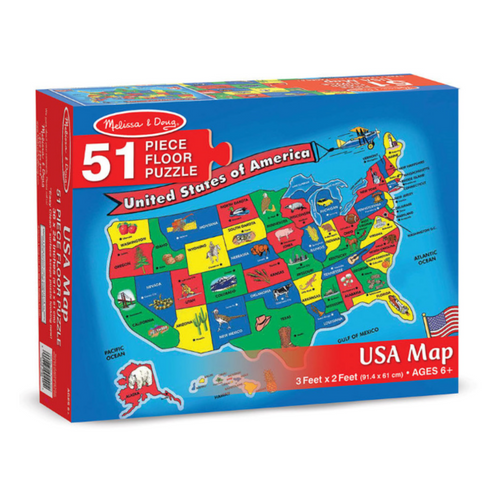 USA Map 51-Piece Floor Puzzle
