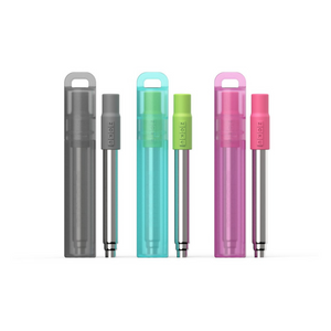 Reusable, portable straw in berry, green and gray