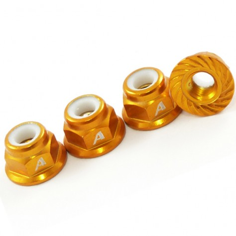 4mm Nylock Wheel Nuts Serrated Face Gold - 4pcs