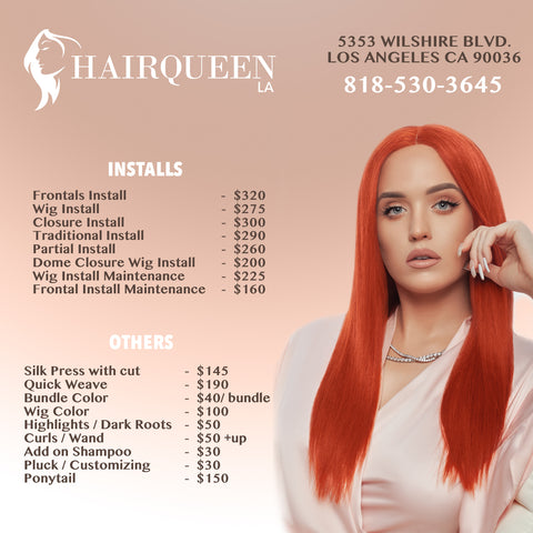 Hair Queen LA Los Angeles Price list