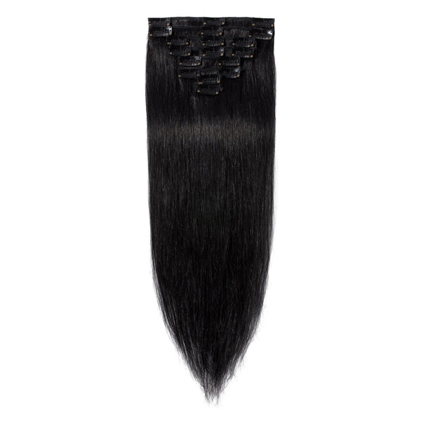 CLIP INS 7 PIECES BLACK STRAIGHT 140 GRAMS