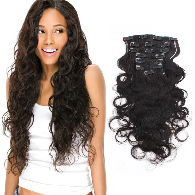 Clip ins 7 pieces Black Body Wave 140 grams