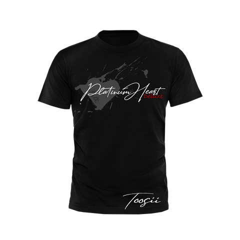 PLATINUM HEART SPLATTER BLACK T-SHIRT + DELUXE DIGITAL ALBUM
