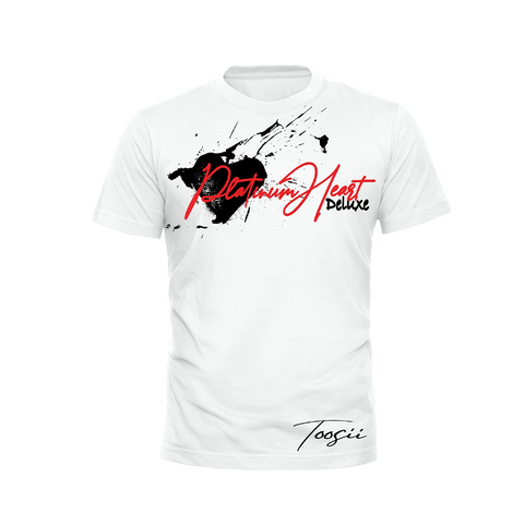 PLATINUM HEART SPLATTER WHITE T-SHIRT + DELUXE DIGITAL ALBUM
