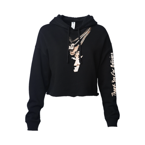 Thank You For Believing Chains Cropped Black Hoodie