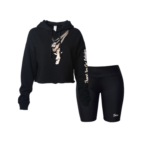 Thank You For Believing Chains Cropped Hoodie & Biker Shorts Set