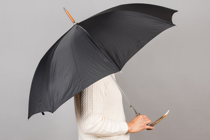 Francesco Maglia Umbrella - Black with Deer Handle