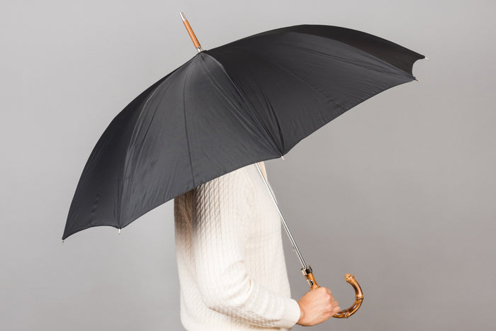 Francesco Maglia Umbrella - Black with Bamboo Handle