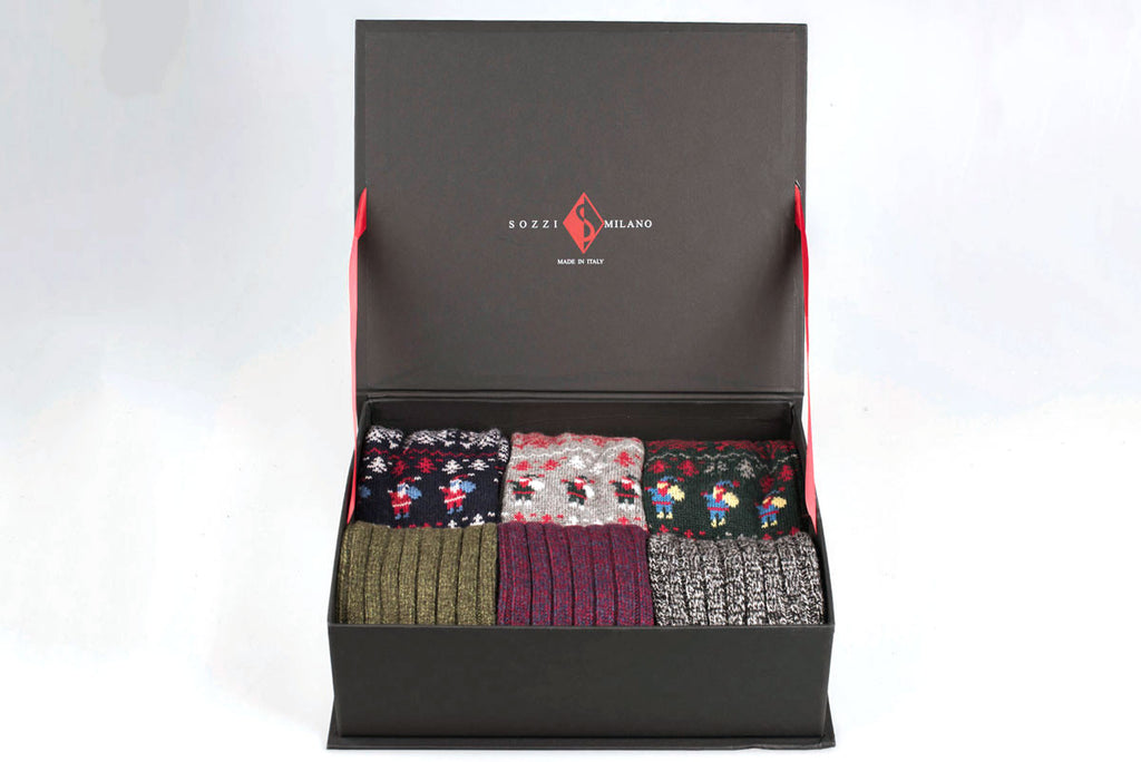 Sozzi Cashmere Socks Gift Box - Large Mix Set Santa Claus and Ribbed
