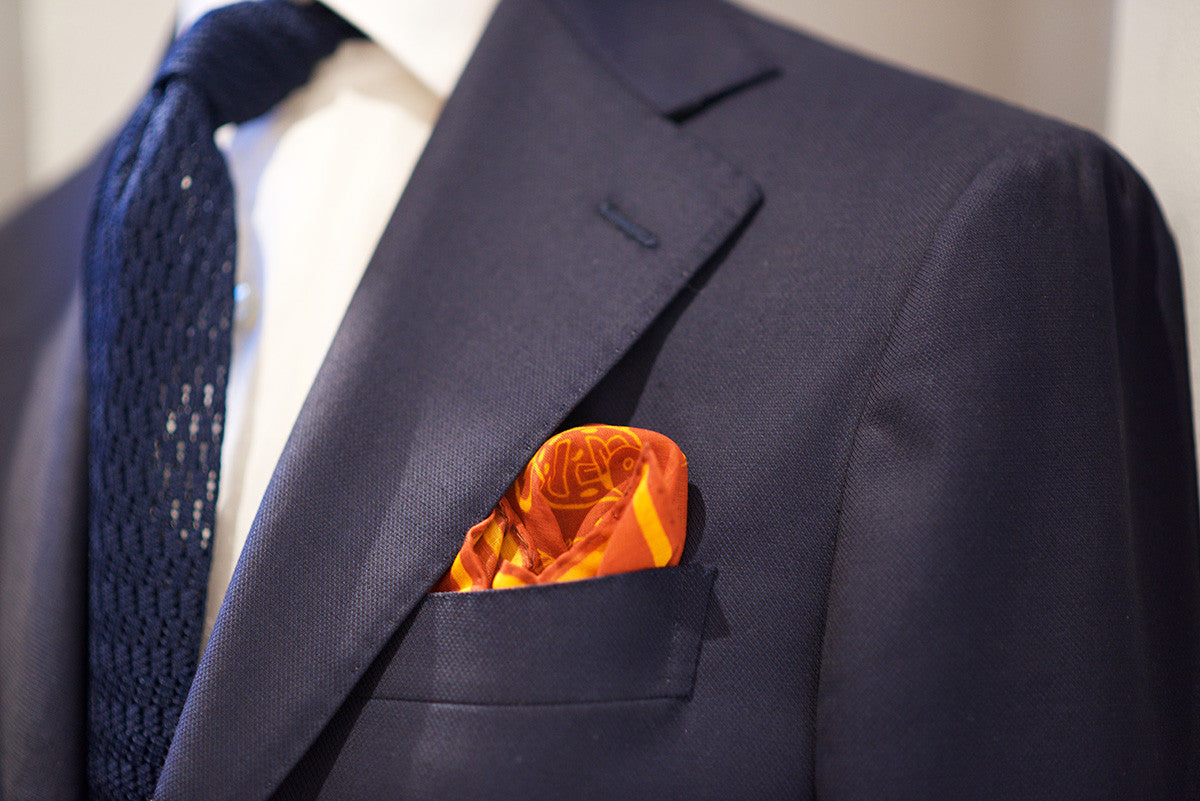 Sozzi Pocket Square - Cotton Sea Life Rust