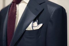 Sozzi Pocket Square - Linen White & Blue