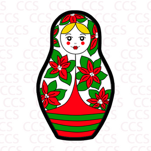 Christmas Poinsettia Nesting Doll