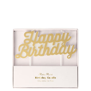Meri Meri Happy Birthday Candle - Gold