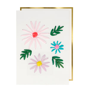 Meri Meri Happy Birthday Card - Raffia Flowers
