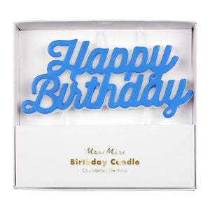 Meri Meri Happy Birthday Candle -Blue