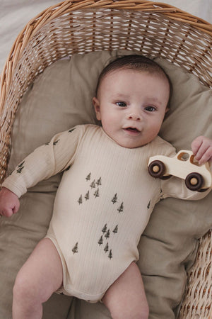 Long Sleeve Onesie - Pine Print