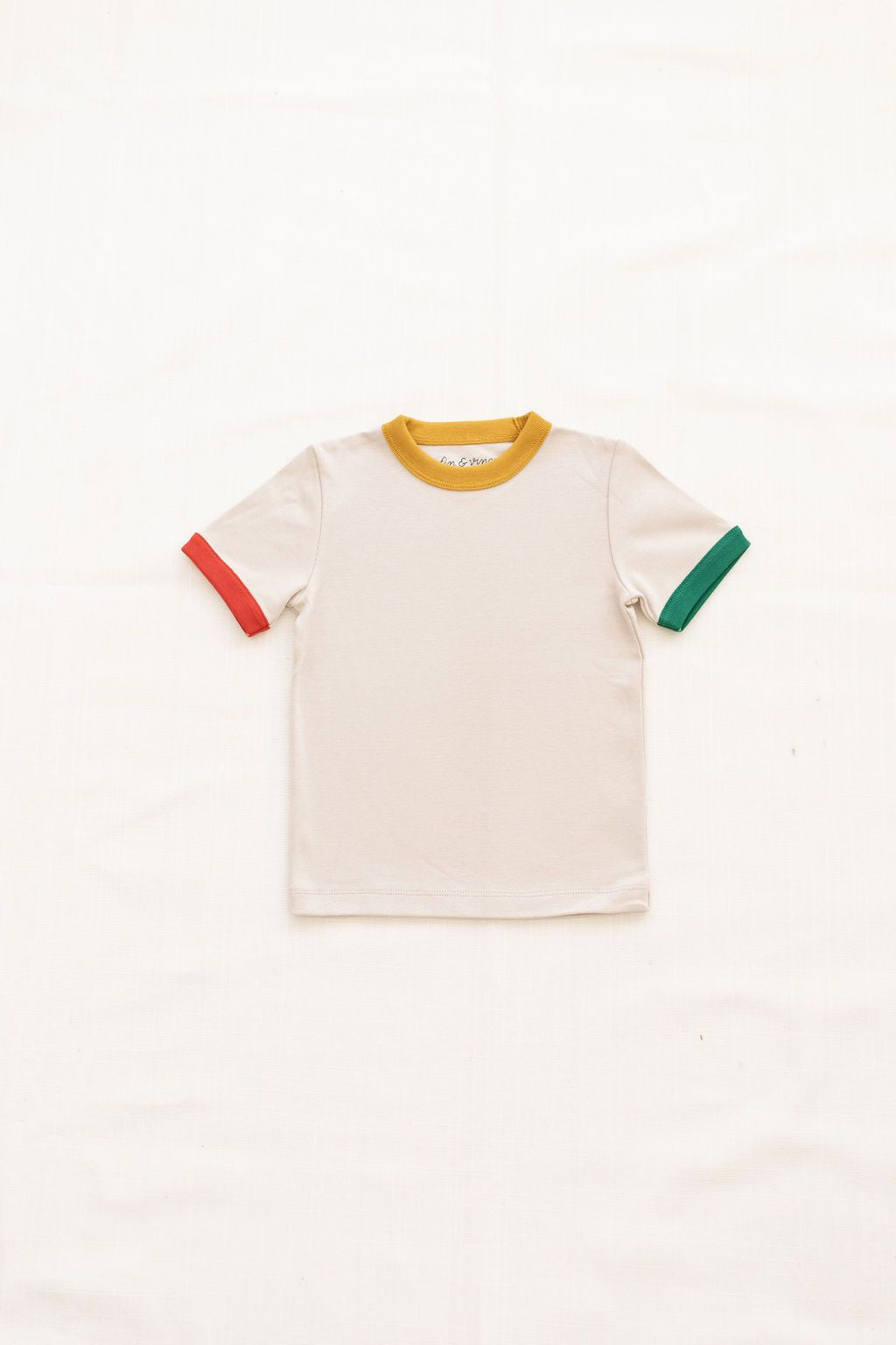 Vintage Tee - Oatmeal w Tri-Color Trim
