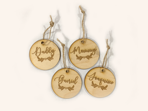 1 pc Personalized Custom name birch wood Christmas stocking Tag laser cut family Keepsake Gift