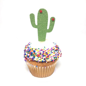 12 pc flower cactus cacti cupcake topper green glitter festive party theme birthday baby shower spring summer succulent