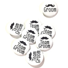 Load image into Gallery viewer, 10 pcs Team Groom badge pin pinback button wedding shower bachelor party favors gift mustache