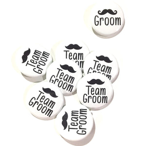 10 pcs Team Groom badge pin pinback button wedding shower bachelor party favors gift mustache