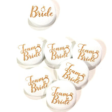 Load image into Gallery viewer, 10 pcs Team Bride badge pin pinback button wedding shower bachelorette party favors gift engagemnet ring faux gold glitter