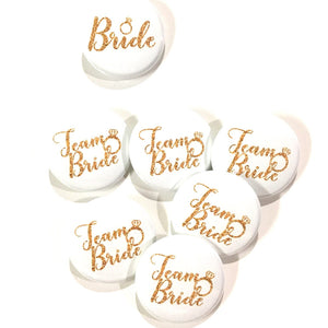 10 pcs Team Bride badge pin pinback button wedding shower bachelorette party favors gift engagemnet ring faux gold glitter