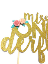 Load image into Gallery viewer, 1 pc miss ONEderful onederful flowers Gold Glitter Cake Topper for first Birthday girl Baby shower cake smash party